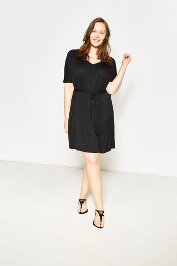 Curvy pleated dress with belt, Black, hi-res