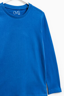 Long-sleeved 100% cotton T-shirt, Soft Blue, hi-res