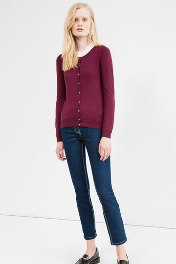 Viscose cardigan with contrasting buttons, Aubergine, hi-res