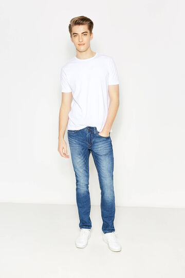 Slim-fit worn-effect jeans