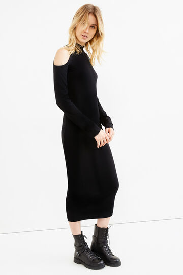 Long stretch cotton dress with drop shoulders, Black, hi-res