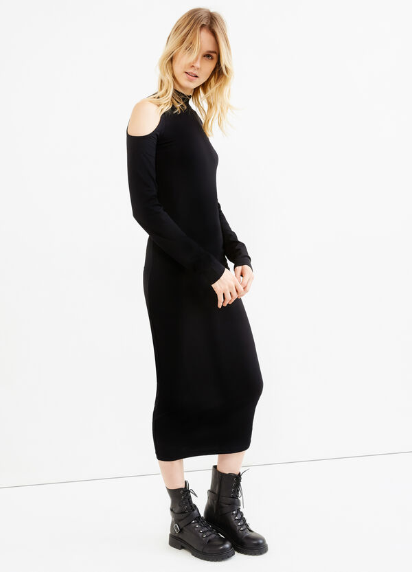 Long stretch cotton dress with drop shoulders | OVS