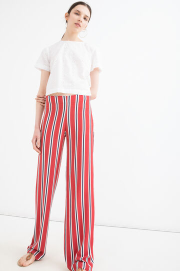Stretch trousers with striped print, Cream White, hi-res