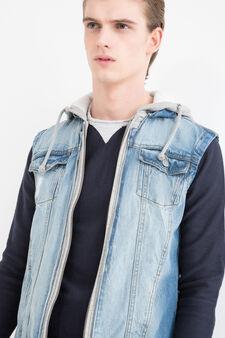 Denim waistcoat with plush sleeves, Denim, hi-res
