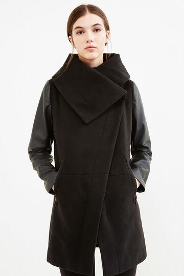 Cappotto stretch chiusura asimmetrica, Nero, hi-res