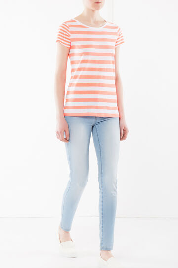 Striped T-shirt, Neon Orange, hi-res