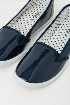 Slip-ons with shiny upper, Blue, hi-res
