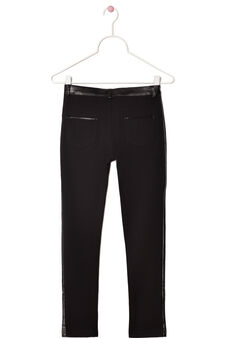 Stretch trousers with leather look trim, Black, hi-res