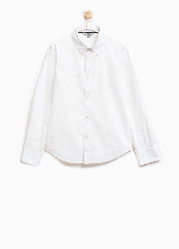 Solid colour stretch cotton shirt | OVS