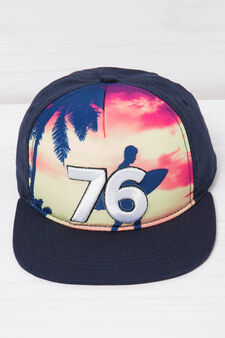 Baseball cap with print on front, Black, hi-res