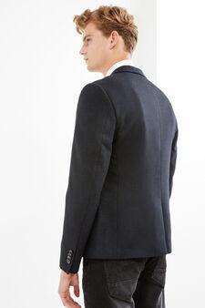 Viscose blend elegant jacket, Dark Blue, hi-res