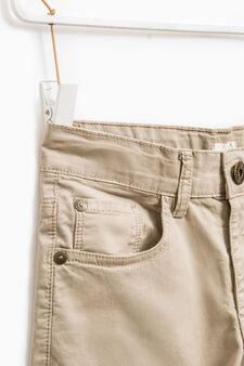 Pantaloni tinta unita in cotone stretch, Beige, hi-res