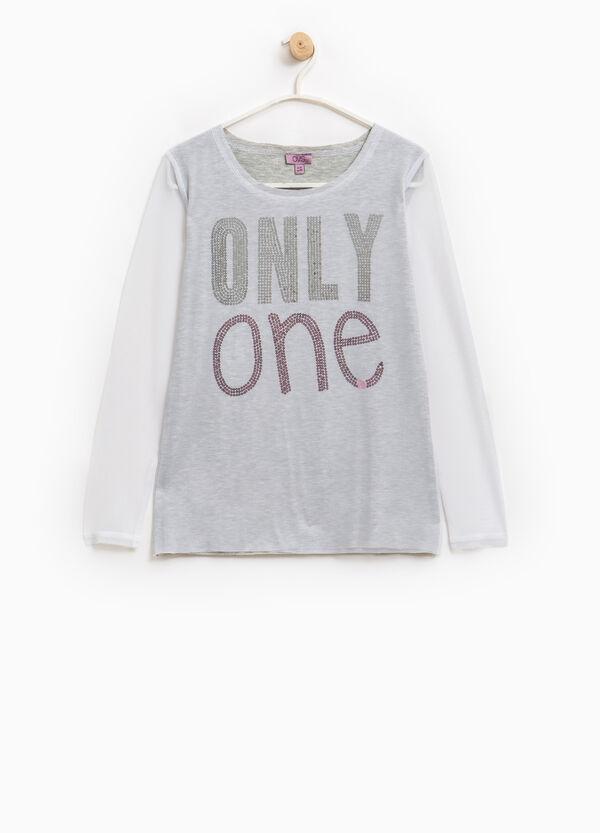 T-shirt viscosa con paillettes e tulle | OVS