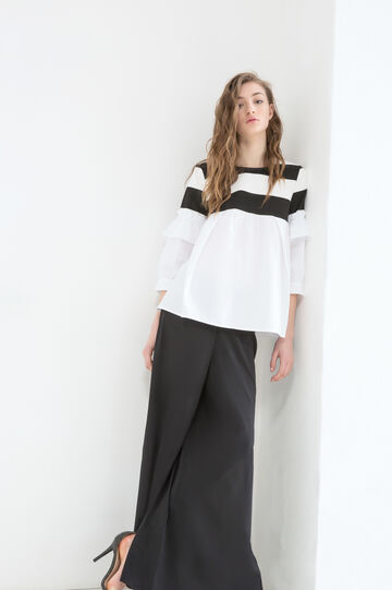 Patterned blouse with contrasting colour stripes, Black/White, hi-res