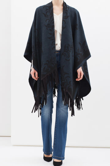 Cape with suede look fringe, Blue, hi-res