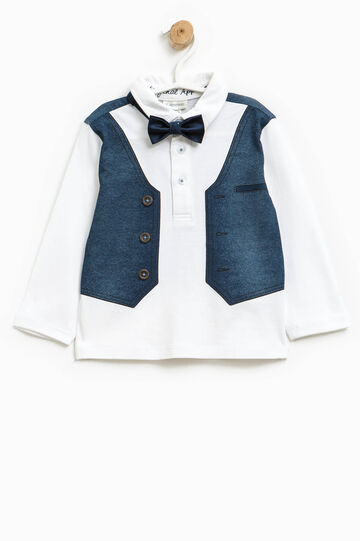 Polo shirt in cotton with print and bow tie, White/Blue, hi-res