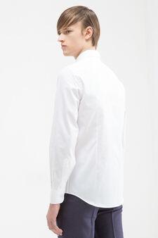 Solid colour 100% cotton shirt, White, hi-res