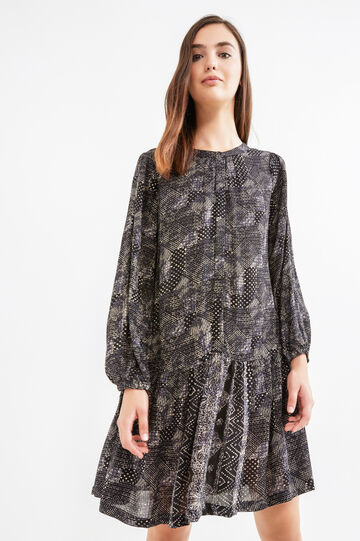 100% viscose dress with all-over print, Black, hi-res