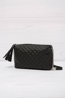 Quilted mini bag with shoulder strap, Black, hi-res