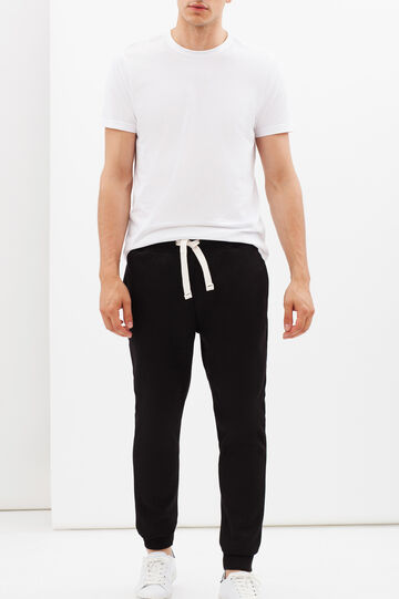 Joggers with drawstrings, Black, hi-res