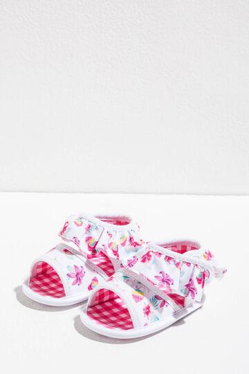 Floral print sandals with frills, Multicolour, hi-res