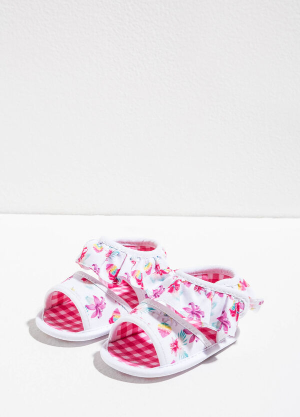 Floral print sandals with frills | OVS