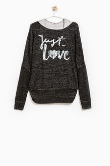 Viscose and lurex pullover with sequins, Black/Grey, hi-res