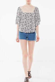 Poncho-style top, White/Black, hi-res