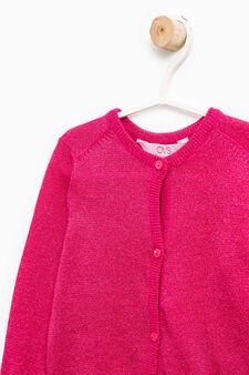 Cotton blend pullover with lurex, Fuchsia, hi-res