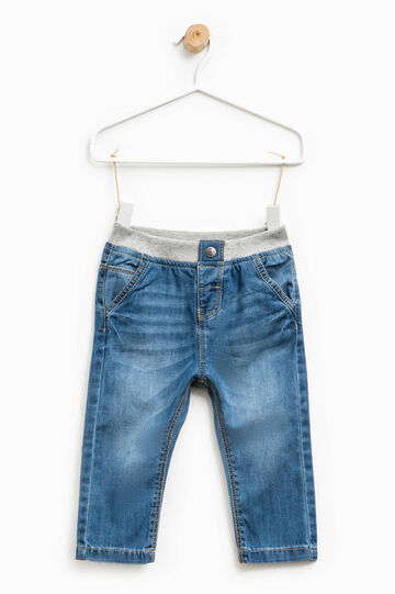 Worn-effect jeans with elasticated waist, Light Wash, hi-res