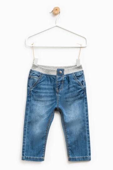 Jeans effetto used con vita elasticata, Lavaggio chiaro, hi-res