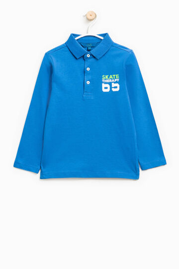 100% cotton printed polo shirt, Royal Blue, hi-res