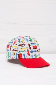 Cappellino baseball cotone fantasia, Grigio/Rosso, hi-res