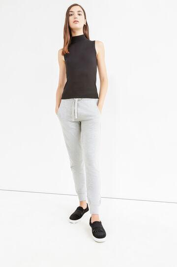 Pantaloni tuta cotone con coulisse, Grigio melange, hi-res