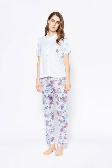 Pyjama top and trousers with stripes and flowers