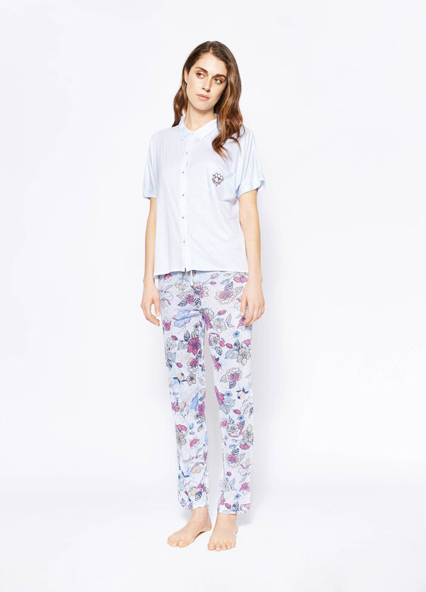 Pyjama top and trousers with stripes and flowers | OVS