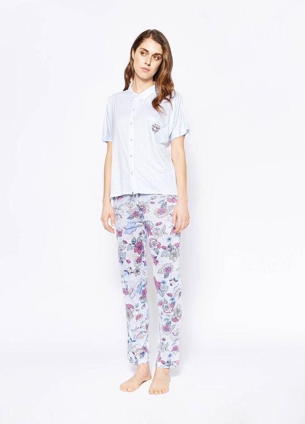 Pijama de camiseta y pantalón de rayas y flores | OVS