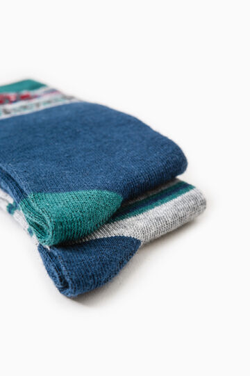 Two-pair pack long socks with embroidery, Navy Blue, hi-res