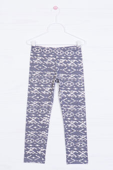 Stretch cotton leggings with studs, Grey, hi-res