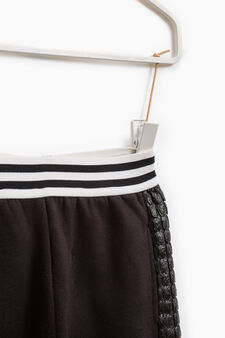 Trousers with side bands, Black, hi-res