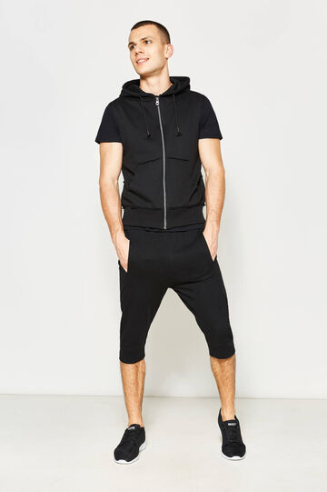 Sleeveless sweatshirt with raw edges