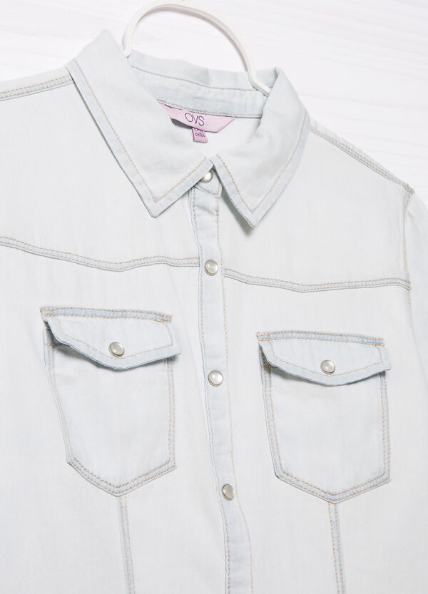 Denim shirt with patch pockets | OVS