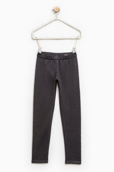 Cotton jeggings with diamanté motif, Smoke Grey, hi-res