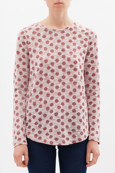 Viscose-lurex blend T-shirt with polka dots, White/Red, hi-res