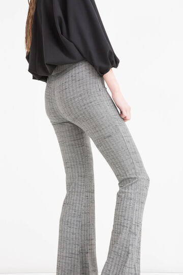 Pantaloni a zampa in misto viscosa, Grigio melange, hi-res