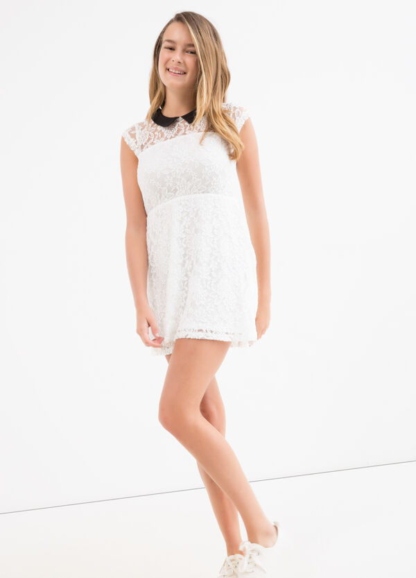 Teen lace dress with classic collar | OVS
