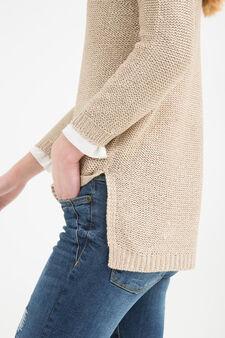 Pullover tricot con paillettes, Marrone antilope, hi-res