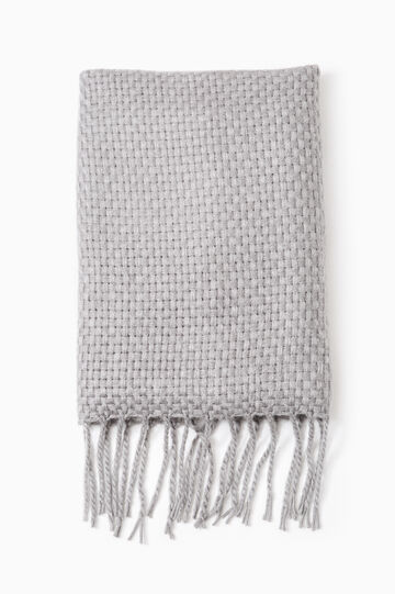 Solid colour scarf with fringe, Grey Marl, hi-res