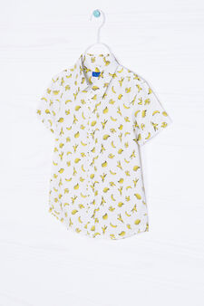Patterned shirt in cotton, White/Yellow, hi-res