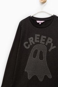 Stretch cotton diamanté T-shirt, Black, hi-res
